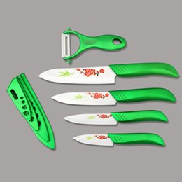 """Ceramic Fruit Knives Canada - Kitchen Knives Beauty Gifts Zirconia green light kitchen Ceramic fruit Knife Set 3"""" 4"""" 5"""" 6"""" inch with Flower painted+ Peeler+Covers"""