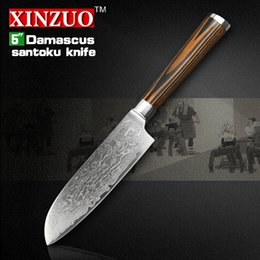 Wholesale XINZUO 5Japanese Chef Knife 73 Layers VG10 Damascus Steel Kitchen High Quality Santoku Wooden Handle FREE SHIPPING