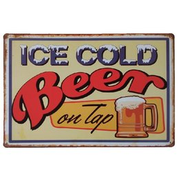 $enCountryForm.capitalKeyWord UK - Ice cold beer on tap Vintage Home Decor Retro Tin Sign Rustic Metal Plaque Cool Metal Plate Metal Poster