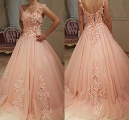 Barato Colher Doce Vestido 16-Sweet Blush Pink Ball Gown Prom Dresses Scoop Flores Tulle Corsel Lace Up Quinceanera Vestidos Sweet 16 Vestidos Vestido de baile Sweet 16 Gowns
