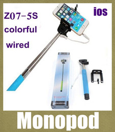 wire holders wholesale 2019 - cable take pole selfie stick for iphone camera samsung selfie holder monopod z07-5s remote control wired selfie-stick ex