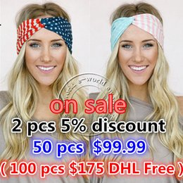 Accessories Usa NZ - Wholesale-New American Flag Headband 4th of July USA Turban Stretch Headbands Bandana Turbante Hair Accessories Free Shipping A0394