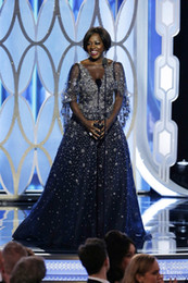 Discount golden sequins - 73rd Golden Globes Viola Davis Stars Style Celebrity Dresses Sheer Neck Wrap A Line Floor Length Red Carpet Dresses Even