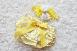 diaper sets 2019 - 18%OFF 1set yellow chevron baby Girl headband and Ruffle Bum Baby Bloomer,yellow chevron Diaper Cover, Ruffle Bum, Newbo