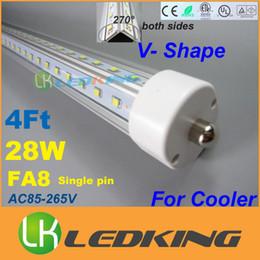 Ce Fluorescent Lighting Canada - 2015 T8 LED Tube 28W FA8 V Shape both sides Light 4FT 4 feet 1.2M For cooler door LED fluorescent lights AC85-265V CE FCC ETL SAA UL 50pcs+
