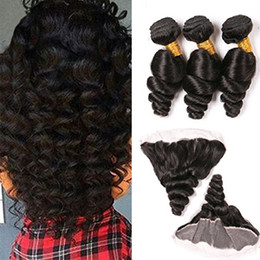 7a peruvian loose wave closure online shopping - 7A Ear To Ear x4 Lace Frontal Closure With Peruvian Loose Wave Bundles With Frontal Closure Bleached Knots And Bundle Deals human