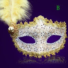 $enCountryForm.capitalKeyWord Australia - Free Shipping Female Party Mask Beauty Feather Beading Sequins Prom Masks Uper Half Face Party Masks