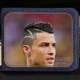 Leather Notecase NZ - Cristiano Ronaldo wallet CR7 purse C football star short cash note case Money notecase Leather burse bag Card holders