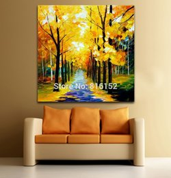 landscapes forests paintings NZ - Palette Knife Painting Autumn Gold Forest Alley Landscape Picture Printed on Canvas for Home Office Hotel Wall Art Decor