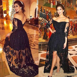 lace maternity dress nigeria 2019 - 2018 Sexy Black Lace Applique Prom Evening Dresses Off-Shoulder 2 3 Sleeves Sequins Hi-lo Formal Party Gown Nigeria Arab