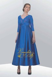 Satin Long Evening Dresses Canada - Elegant A-Line Lace Evening Dresses 3 4 Long Sleeves V-Neck Blue Satin with Appliques Zipper Back Tea-Length Formal Party Gowns 2016