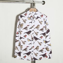 Flying Birds Print Canada - 2018 New Plaid men casual shirts patchwork long sleeve mens shirts brand quality 3d print flying birds slim fit cotton dress shirts male