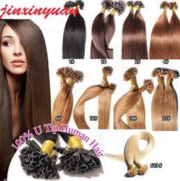 1g / s 200g / lot 14 '' - 24''100% Human Hair Utip Hårförlängningar Remy Indisk Brasiliansk Fabrikspris Straight Nail U Tips Hair DHL Gratis