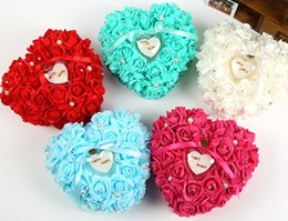 Discount pearls favors - Heart Rhinestone Pearl Lace Rose Satin Bridal Ring Bearer Pillow Beaded Wedding Ceremony Favors Box