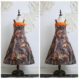 custom made spaghetti a line camo flower girls dresses tea length real tree lovely kids formal wear cheap pageant birthday summer gowns - Cheap Christmas Trees Online
