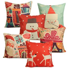 Coffee Housing Canada - Wholesale-1Pcs Fashion Christmas Series Linen Cotton Pillowcase Comfortable Soft Pillowcase Christmas Gift Home Coffee House Supplies