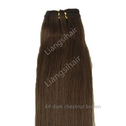 """Discount chestnut brown hair weave - 7A 100g 1pcs 16""""-26"""" 6# Dark Chestnut Brown Brazilian Straight Hair Extensions Indian Malaysian Peruvian Remy"""