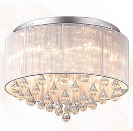 Black modern light chandelier online shopping - Modern Fashion Fabric Ceiling Light Chandelier light Crystle Pendant Lamp Crystal Ceiling Light Living Room Bedroom White Purple Red Black