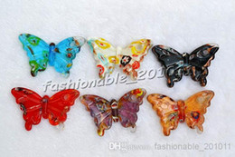 $enCountryForm.capitalKeyWord Canada - animal butterfly millefiori glass Multi-Color Lampwork Murano Glass Pendants Necklaces Wholesale Retail FREE #pdt85