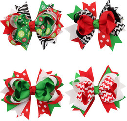Discount bow clip designs - 12PCS 4.5inch Christmas Design Hair Flowers Children Headwear Kids Hairpin Girls Hair Clips Baby Hair Accessories HD3296