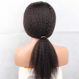 Yaki Bangs Canada - 130 Density Yaki Straight Full Lace Wig 7a Brazilian Human Hair Full Lace Wig With Bang For Black Woman Glueless Lace Front Wigs
