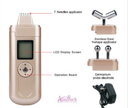 Chinese  3 treatment heads Y shape Face Roller 7 needles Microcurrent bio lifting EMS Massage Galvanic facial toning wrinkle removal beauty machine manufacturers