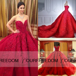 $enCountryForm.capitalKeyWord Canada - Michael Cinco Luxury Ball Gown Red Wedding Dresses Lace Top quality Beaded Sweetheart Sweep Train Gothic Wedding Dress Civil vestido de 201