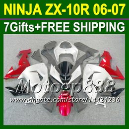 $enCountryForm.capitalKeyWord NZ - 7gifts Body For KAWASAKI NINJA ZX10R Red sivler 06-07 ZX 10R 10 R 20P16 silvery red ZX-10R 10R 06 07 2006 2007 Fairing Kit Free shipping
