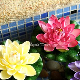 Artificial pond flowers dhgate uk hot 18cm eva real look lotus flowers swmming pool artificial silk flower for home pond party decoration mightylinksfo Images