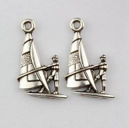 sailing jewelry NZ - Hot ! 100pcs Antiqued Silver Alloy Sail Boat Charm Pendants 20X14mm DIY Jewelry