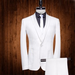 Barato Smoking Branco Barato Para Homens-Handsome White Wedding Tuxedos Slim Fit Ternos para homens Cheap One Button Groom Suit Three Pieces (Jacket + colete + calça)