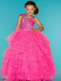 Robes De Boucle À Perles D'eau Pas Cher-Spaghetti Water Melon robe boule robe Girl Dresses 2015 Nouveau perlée Cristal Ruffles Organza Fille Robes Girl's Formal Wear