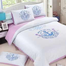 Venta al por mayor de Luz púrpura y azul claro viaje de siglo de algodón de lujo sólido y simple estilo 3pcs / 4pcs gemelo completo reina rey superventas conjunto