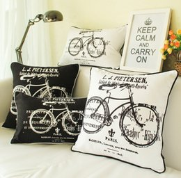 Car Sofa Couch Canada - Hand Drawn Bike Bicycle Cushion Cover Black And White European Vintage Retro Style Cushions Covers Decorative Pillow Case For Car Sofa Couch
