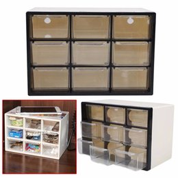 Plastic Cabinet Organizers NZ - 9 Grid Transparent Plastic Storage Cabinet Multi Layer Drawer Save Space Box Cabinets Food Sundries Organizer Home Accessories