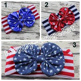 Discount ribbon twist - 30pcs women baby the USA flag knotted bronzing Bow Turban Twist hair band flower 4th of July headband Head Wrap stripe s
