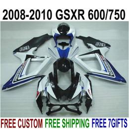 $enCountryForm.capitalKeyWord Australia - High quality ABS fairing kit for SUZUKI GSXR750 GSXR600 2008-2010 K8 K9 blue white black fairings set GSXR600 750 08 09 10 FA18