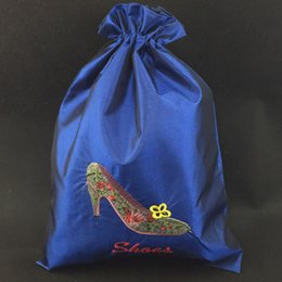 Silk Drawstring Shoe Bags NZ - Pretty Women Travel Shoes Case Cover wholesale Silk Embroidered Drawstring Dust Bags with Lined 50pcs lot Mix Color 14.5*11inch free