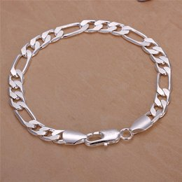 $enCountryForm.capitalKeyWord NZ - High quality 925 sterling silver plated Figaro chain bracelet 8MMX20CM cool design fashion Men's Jewelry Free Shipping