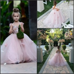 Barato Blush Crianças-Lovely Girl's Pageant Dresses 2016 Blush Pink Spaghetti Tiers Tulle com 3D Flora Appliques Princesa Kids Pageant Party Gowns personalizado BA1419