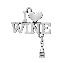 "Chinese  Charm Pendants Bottle Antique Silver( fit Hold ss6 Rhinestone)Heart "" WINE "" Hollow 35mm(1 3 8"")x27mm(1 1 8""),10 PCs new Jewelry making manufacturers"