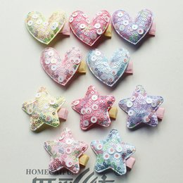 Pinces À Cheveux Pourpre Enfants Pas Cher-100 pc / Lot Chaude Rose Avec Brillant Sequin Star Kid En Épingle Plus Grand Ronde Glitter Star Coeur Cheveux Fille Cheveux Barrette Pourpre Pince à Cheveux