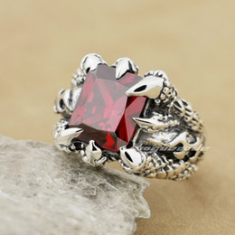 $enCountryForm.capitalKeyWord Canada - Huge Red Ruby Dragon Claw 925 Sterling Silver Mens Biker Rocker Ring 8T002A US Size 8~14 Free Shipping