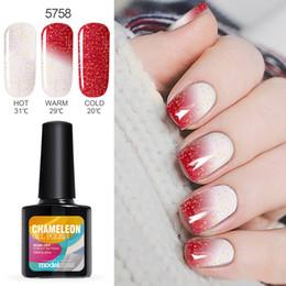 PurPle gel nail Polish online shopping - Modelones Temperature UV Nail Gel Polish Red Color Change UV Gel Polish ML Nail Art Chameleon Thermo Led Gel Nail Primer