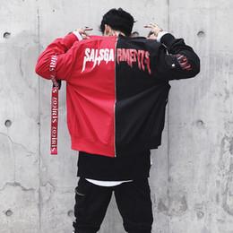0aeb586d2ad Discount hip hop baseball jerseys Baseball Jersey Jacket Ma1 Bomber  Patchwork Coat Stand Collar Hip Hop