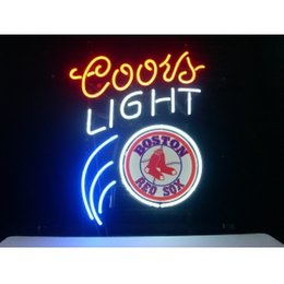 Red Sox Wholesale Pas Cher-Gros-BOSTON RED SOX BASEBALL COORS ARTISANAT NEON SIGN REAL GLASS TUBE LUMIERE BEER BAR PUB MAGASIN 17x14