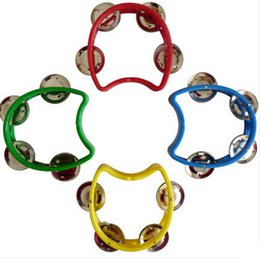 Children Toy Musical Instruments Canada - 2015 new Plastic Tambourine Handbell Rattles Child Baby Kid Orff Musical Instrument Toy 10CM free shipping
