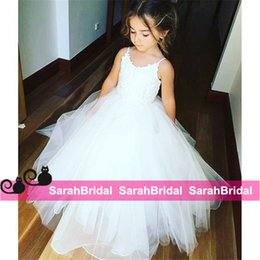 Barato Vestidos Elegantes Do Partido Dos Miúdos-Elegant Ball Bridal Party Vestidos Flower Girls Vestidos para casamento Spaghetti Lace Fluffy 2016 Kids Pageant Primeira Comunhão Wear Custom Made