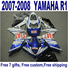Abs Australia - 7 Free gifts ABS bodywork set for YAMAHA fairings YZF R1 07 08 blue white black fairing kit YZF-R1 2007 2008 YQ31