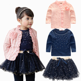 Girls tutu dress coat online shopping - New Kids Outfits Baby Girls Clothing Sets Coat T shirt Skirt Dress Tutu Princess Kids Clothes Set Suit Pink Costume